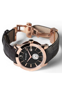 NeroUno Three-Hands Watch, Rose Gold PVD, Black Dial, Brown Leather Strap
