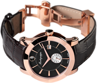 Nerouno Quartz Watch - Rose Gold PVD, Black Dial, Black Leather Strap