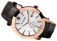 NeroUno Three-Hands Watch, Rose Gold PVD, Silver Dial, Black Leather Strap