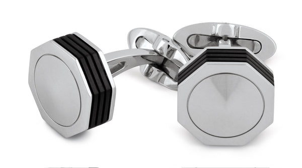 Nerouno Linea Cufflinks - Stainless Steel, Metal Inlay