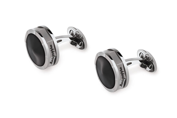 Nerouno Steel Cufflinks with Resin Inlay