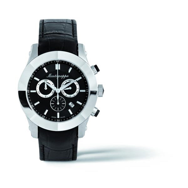 NeroUno Chronograph, Steel, Black Dial, Black Leather Strap