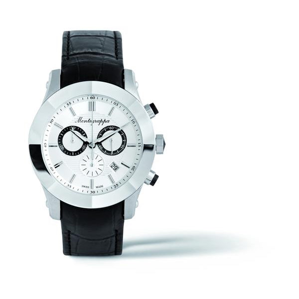 NeroUno Chronograph, Steel, Silver Dial, Black Leather Strap