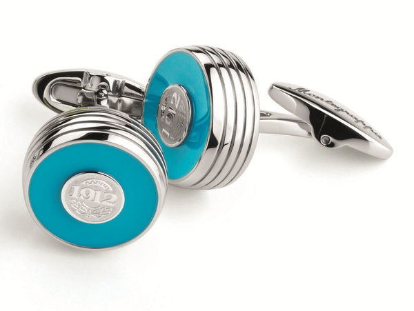Piacere Cufflinks Cyan Silver Color