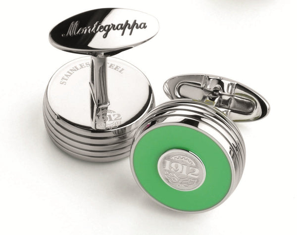 Piacere Cufflinks Lime Green Silver Color