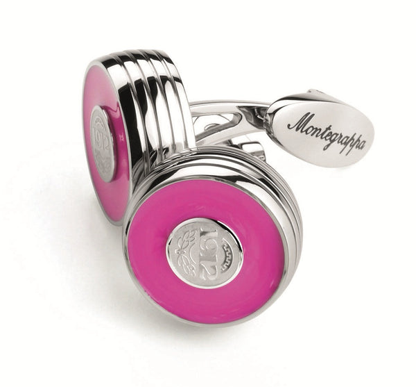 Piacere Cufflinks Neon Pink Silver Color