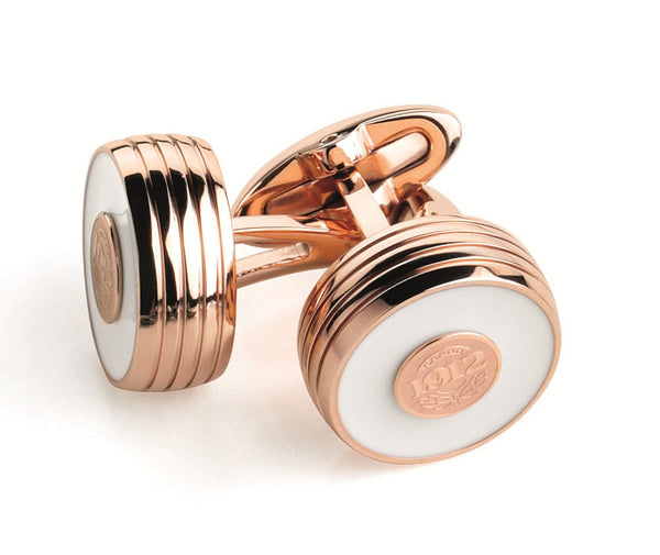 Piacere Cufflinks White and Rose Gold Color