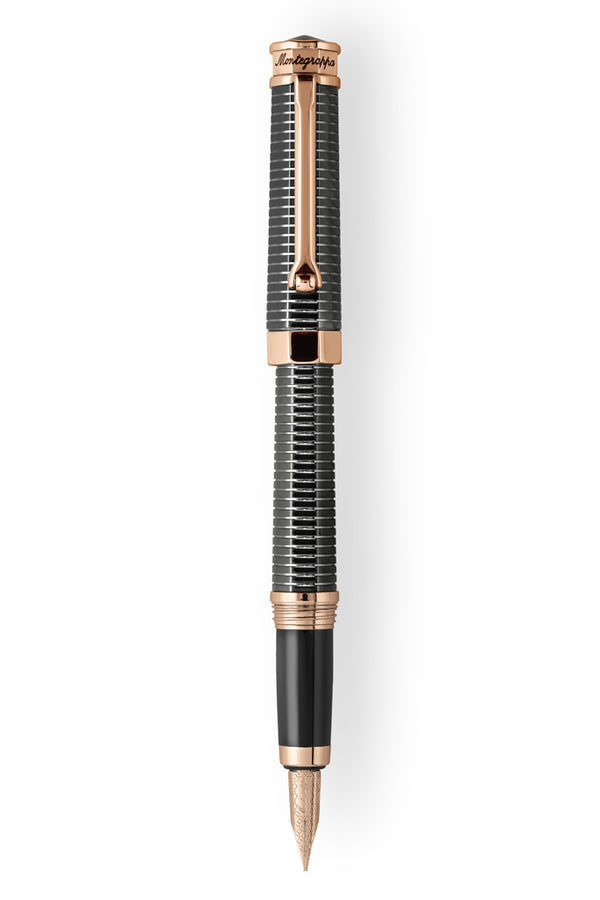 NeroUno All-Metal Fountain Pen w/ Rose Gold trims, Gun Metal,