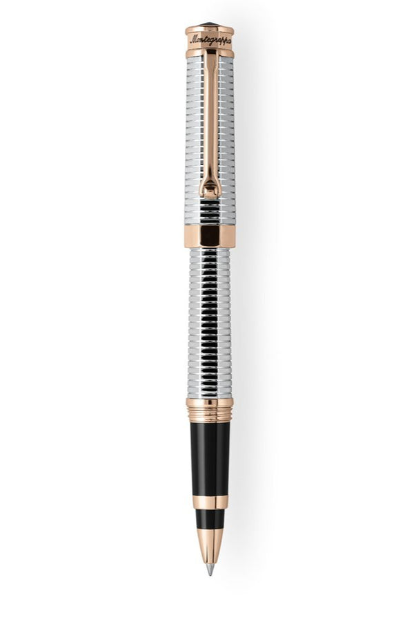 NeroUno All-Metal Rollerball Pen w/ Rose Gold trims, Palladium pl.
