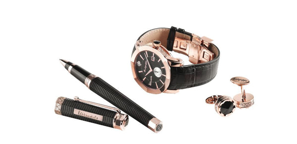 NeroUno Nelson Mandela Ballpoint,  Cufflinks & Watch Set, Black