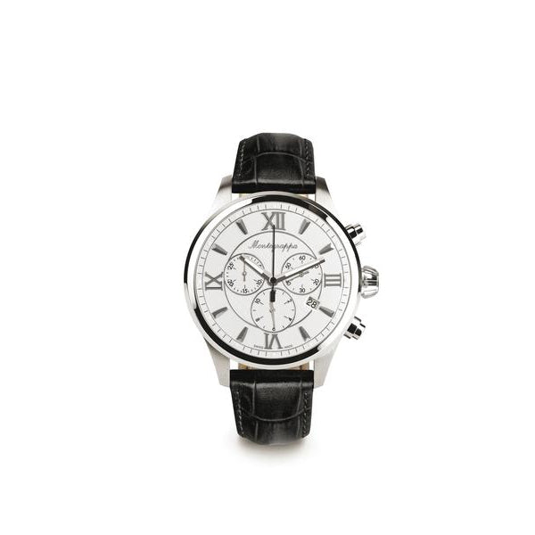 Fortuna Chronograph, Steel, Silver Dial, Black Leather Strap