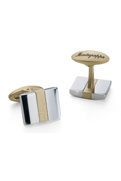 Rettangolo Cufflinks, IP Yellow Gold & Steel