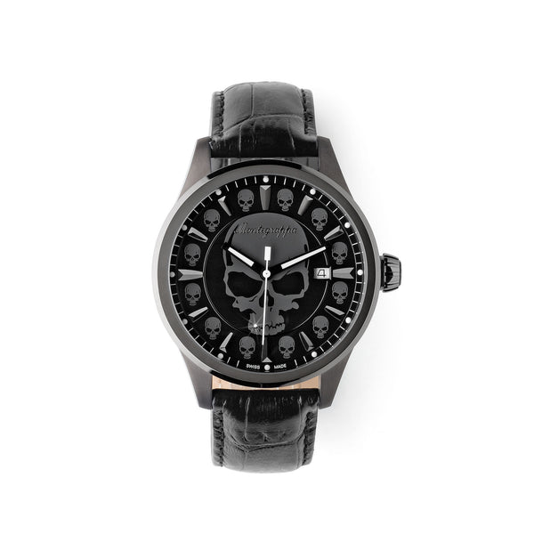 Fortuna Skull Watch, Gun Metal PVD, Gun Dial, Black Leather Strap