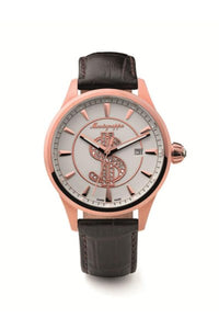 Ca$h Watch, Rose Gold PVD, White Dial, Brown Leather Strap