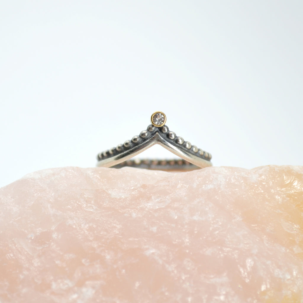 asteria ring : silver & 18k & sapphire