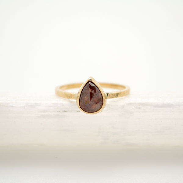 pear rose cut burgandy diamond : 14k
