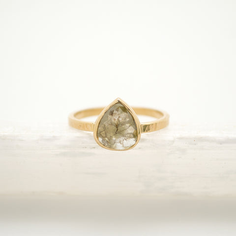 pear rose cut grey diamond : 14k