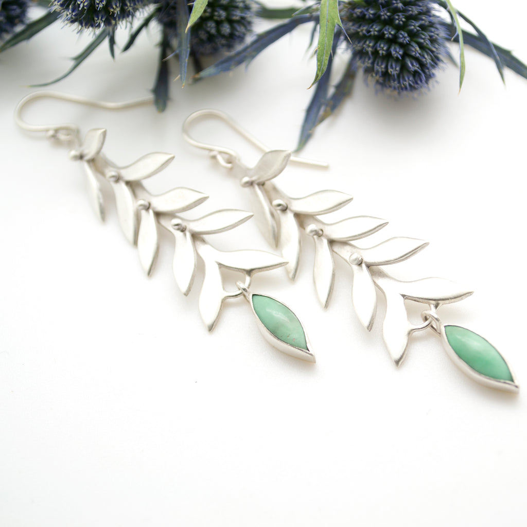 vine drops with variscite.  .leaf