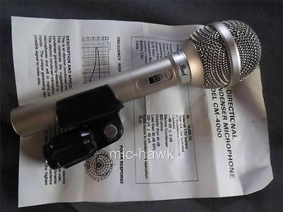 PEARL CM4000 RARE VINTAGE CARDIOID CONDENSER MICROPHONE WITH CLIP & MANUAL, XLR