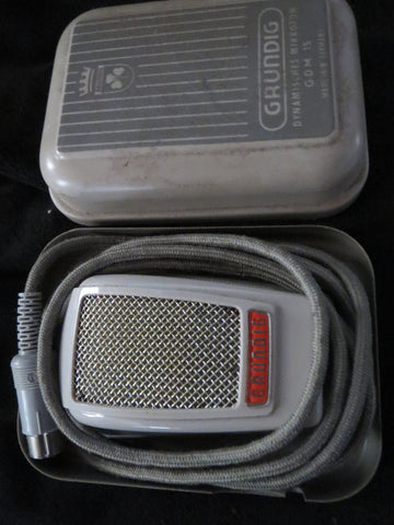 RARE VINTAGE GERMAN GRUNDIG GDM15 DYNAMIC CARDIOID MICROHPONE WITH CASE & CABLE