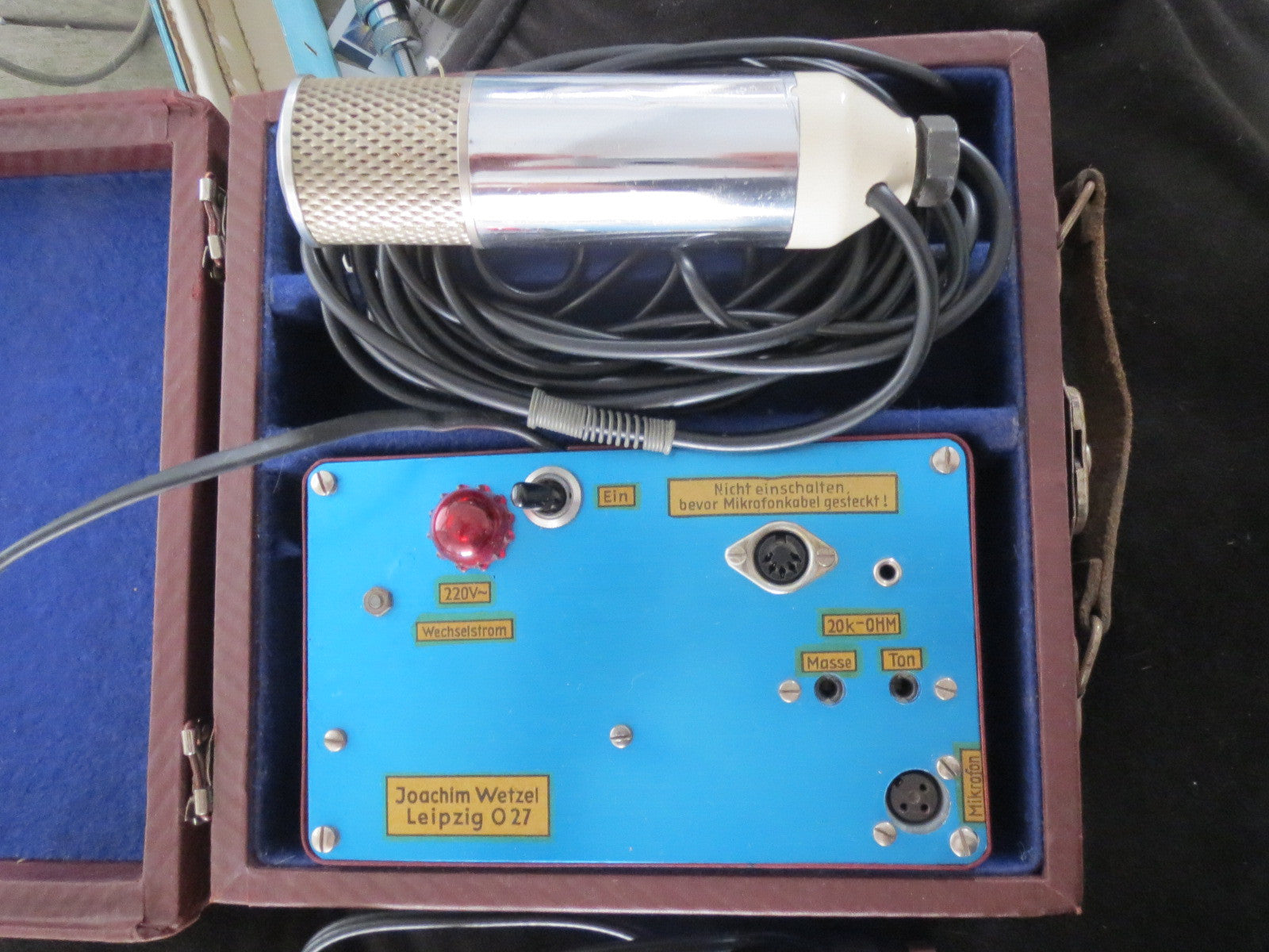 JOACHIM WETZEL RARE VINTAGE TUBE MICROPHONE WITH POWER SUPPLY, DESK STAND+CABLES