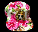 White Base Pink Hawaiian Style Beach Hat (DreadHead Logo)