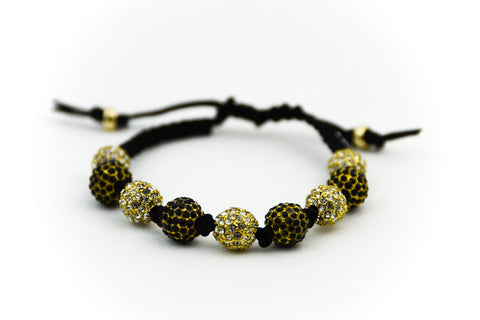 Black Macrame Alternating Pave Bracelet