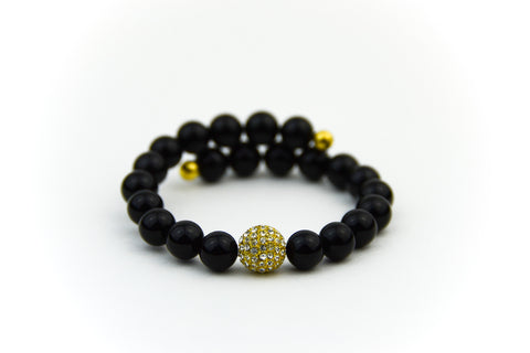 Endless Gold Pave & Black Onyx Bracelet