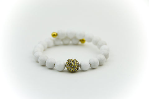 Endless Gold Pave & White Jade Bracelet