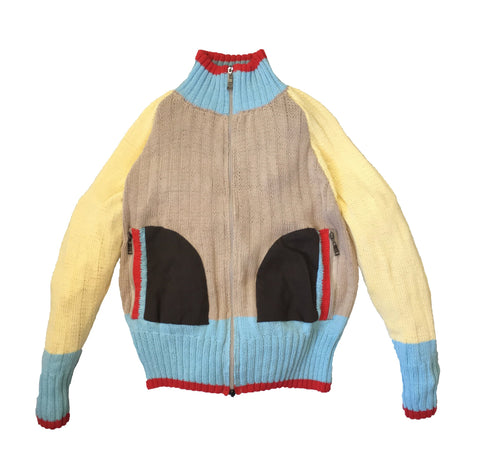 Colorful Two Way Zip Knit Sweater