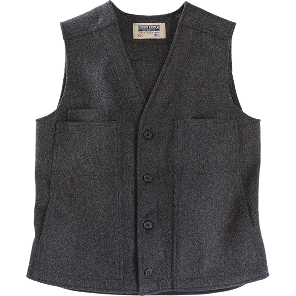 Stormy Kromer Wool Button Vest in Charcoal