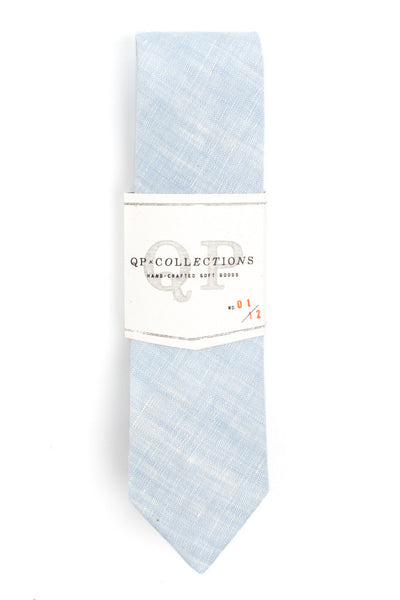 QP Collections Linen Necktie in Blue