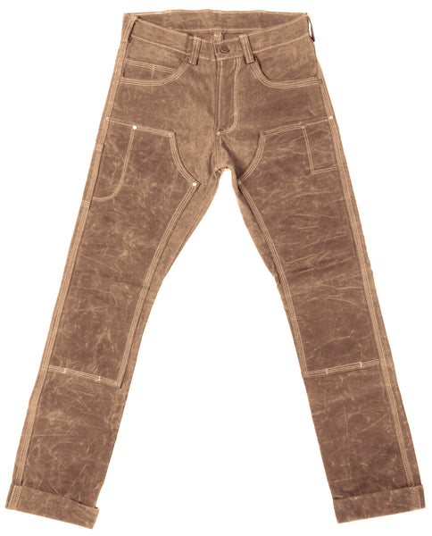 Red Clouds Collective Waxed Canvas Fitted Work Pant in Brush Brown