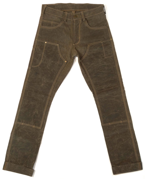 Red Clouds Collective Waxed Canvas Fitted Work Pant in Havana