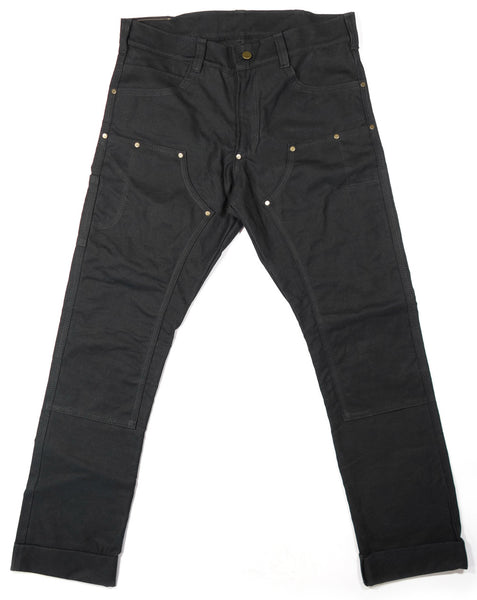 Red Clouds Collective Waxed Canvas Fitted Work Pant in Black