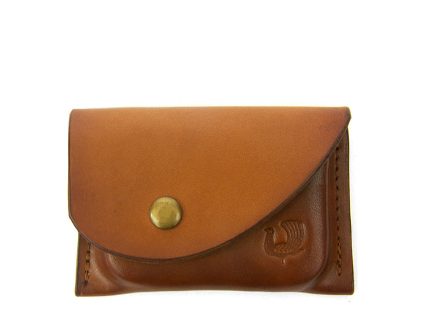 Red Clouds Collective Leather Card Case in Saddle Tan