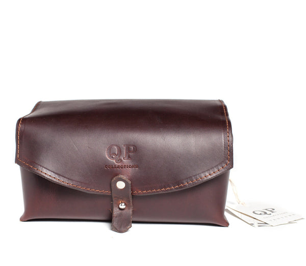 QP Collections Men's Leather Dopp Kit in Brown