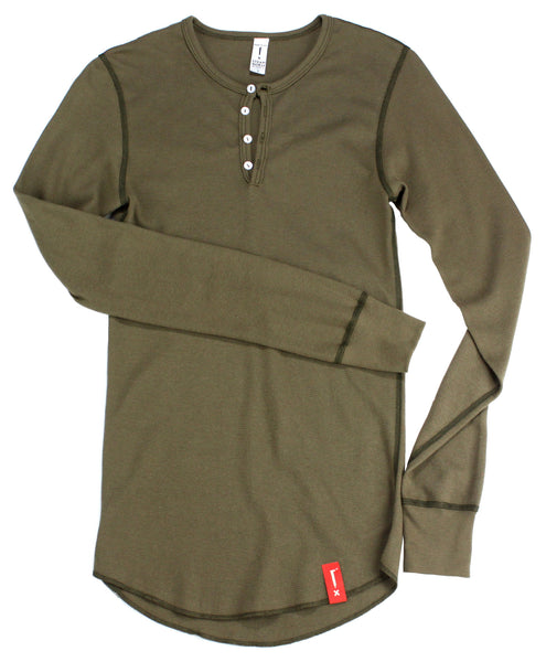 Steam Horse Dry Goods Henley in Army Green