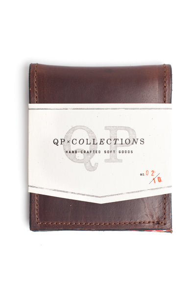 QP Collections Men's Leather Wallet in Brown and Bandana Accent