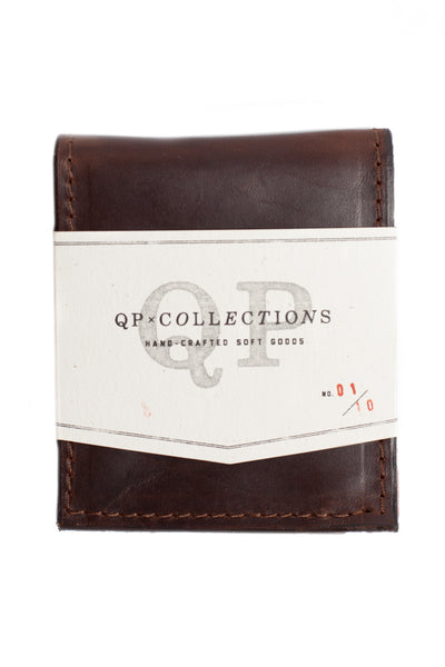 QP Collections Men's Leather Wallet in Brown and Floral Accent