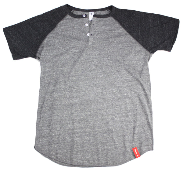 Steam Horse Dry Goods Raglan Henley in Charcoal