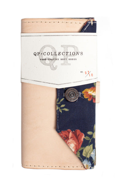 QP Collections Women's Leather Wallet in Tan and Floral Accent