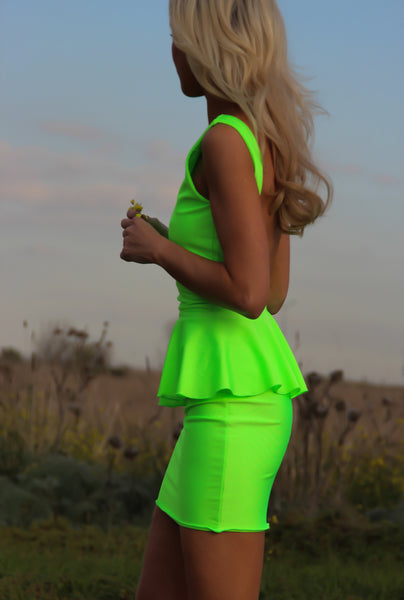 Peplum Pop Backless Neon Lime Dress  by Justyna G