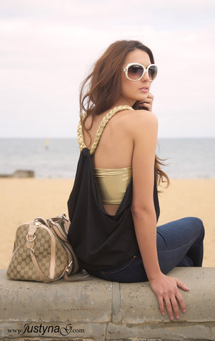 Gold braided tank top - Black