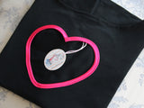 Black Fabric with Deep Pink Heart Edge