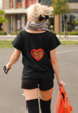 Black Fabric with Red Heart Edge