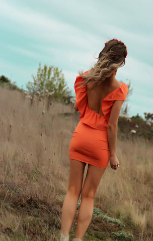 WILDFIRE RUFFLE DRESS