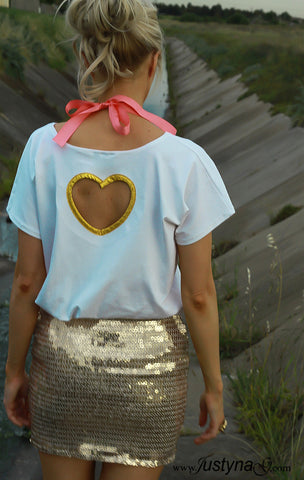 WHITE GOLDEN HEART TOP