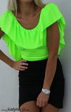NEON LIME RUFFLE TOP