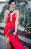 ~The bold red satin and the double high split front skirt oozes confidence and is perfect for a formal function